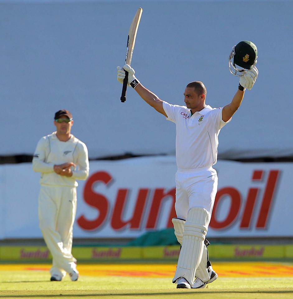 CAPE TOWN, SOUTH AFRICA - JANUARY 02:  Alviro Petersen of South Africa celebrates his century during day 1 of the 1st Test between South Africa and New Zealand at Sahara Park Newlands on January 02, 2013 in Cape Town, South Africa.  (Photo by Carl Fourie/Gallo Images/Getty Images)