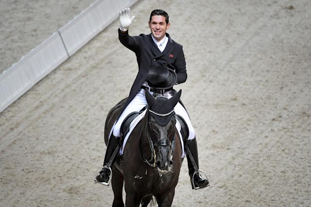 Equestrian - Sweden International Horse Show - FEI Grand Prix Freestyle to Music event - Friends Arena, Stockholm, Sweden - December 3, 2017. Severo Jurado Lopez of Spain rides his horse Deep Impact 3. TT News Agency/Jessica Gow via REUTERS ATTENTION EDITORS - THIS IMAGE WAS PROVIDED BY A THIRD PARTY. SWEDEN OUT. NO COMMERCIAL OR EDITORIAL SALES IN SWEDEN