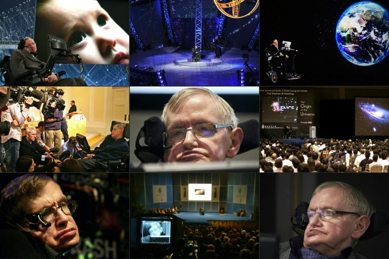 A combination of photos of British astrophysicist Stephen Hawking