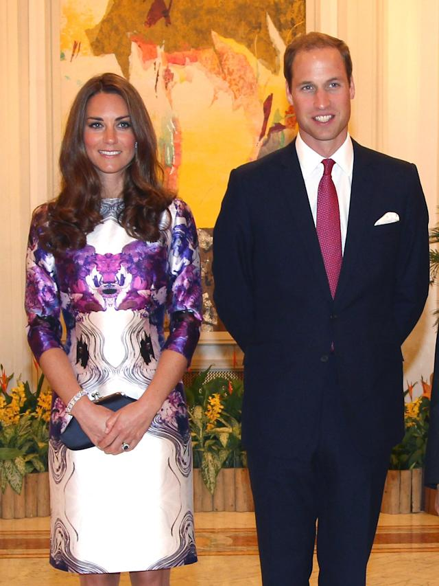 Kate Middleton and Prince William attend the Istana for a state dinner on day 1 of their Diamond Jubilee tour, Sept. 11, 2012, in Singapore. (Photo: Samir Hussein/WireImage)
