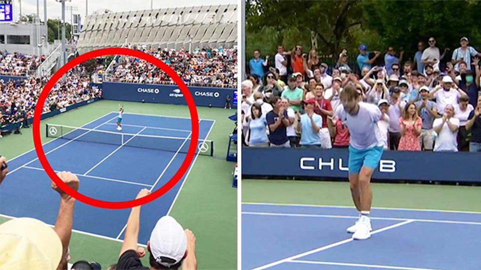 Fans go wild at the US Open (pictured left) and Maxime Cressy (pictured right) celebrating after coming from behind to defeat Pablo Carreno Busta.