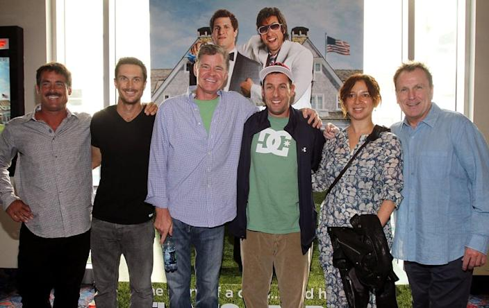 """<div class=""""inline-image__caption""""> <p>(L-R) Peter Dante, Oliver Hudson, Dan Patrick, Adam Sandler, Maya Rudolph and Colin Quinn attend the <em>That's My Boy </em>Boston premiere at Regal Fenway Theater on June 9, 2012, in Boston, Massachusetts. </p> </div> <div class=""""inline-image__credit""""> Marc Andrew Deley/Getty </div>"""