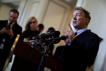FILE PHOTO: Sen. Rand Paul (R-KY) speaks at a press conference about the latest Republican Effort to repeal and replace the Affordable Care Act on Capitol Hill in Washington, U.S. September 25, 2017. REUTERS/Aaron P. Bernstein