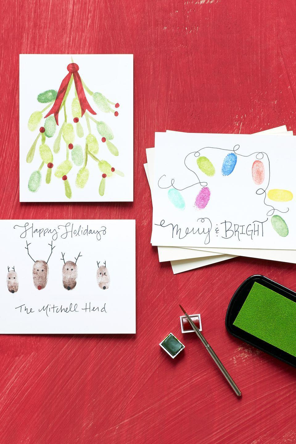 """<p>Even the """"all thumbs"""" type can tackle these crafts, which start with plain white notecards.</p><p><strong>Greenery:</strong> Using green ink, stamp thumbs and press onto card to make leaves. Add berries and bow with a red marker and stems with green watercolor paint.</p><p><strong>String Lights:</strong> Stamp thumbs in various link shades. Use a black fine-tip marker to draw a string connecting the lights.</p><p><strong>Reindeer Herd:</strong> Stamp thumbs in brown ink and press onto blank card. Use fine-tip markers to draw antlers, eyes, and noses.</p><p><a class=""""link rapid-noclick-resp"""" href=""""https://www.amazon.com/Lsushine-Craft-Stamps-Partner-Fabric/dp/B01CKXUCNE/?tag=syn-yahoo-20&ascsubtag=%5Bartid%7C10050.g.3872%5Bsrc%7Cyahoo-us"""" rel=""""nofollow noopener"""" target=""""_blank"""" data-ylk=""""slk:SHOP STAMP PADS"""">SHOP STAMP PADS</a><br></p>"""