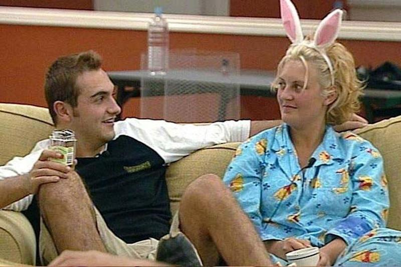 Sara-Marie back in 2001 on Big Brother with a fellow contestant wearing her trademark bunny ears and signature pyjamas. Source: Supplied