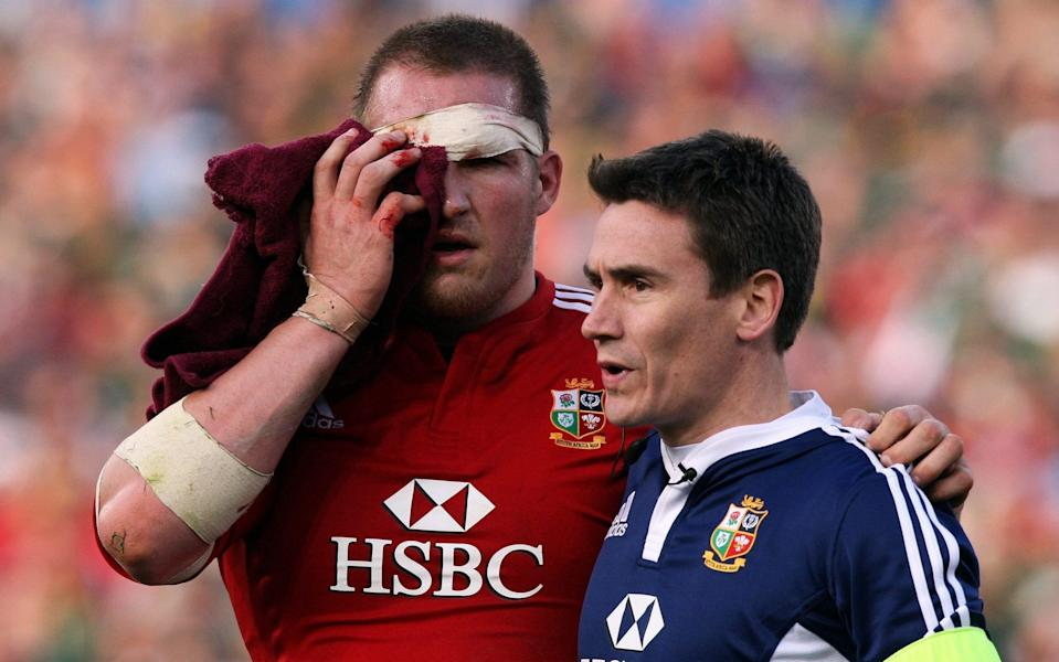 Gethin Jenkins fractured his eye-socket following a clash of heads with O'Driscoll - GETTY IMAGES