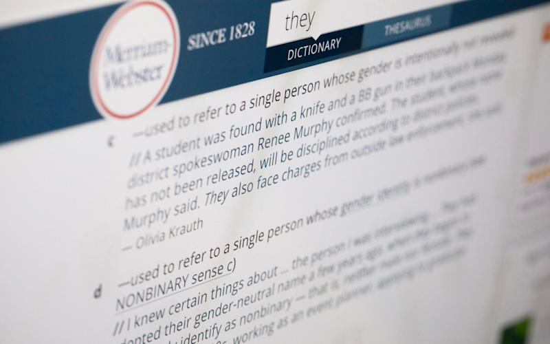 Merriam-Webster officially added a third definition for the pronoun 'they' as an entry in September - AP