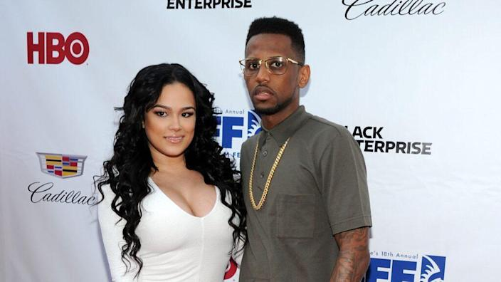 """Cute couple Emily B. and rapper Fabolous attend the """"Think Like A Man Too"""" premiere during the 2014 American Black Film Festival at SVA Theater in New York City. (Photo by Ilya S. Savenok/Getty Images)"""