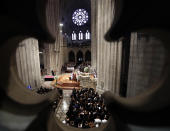 Dignitaries and invited guests attend a memorial service for Sen. John McCain, R-Ariz., at Washington National Cathedral in Washington, Saturday, Sept. 1, 2018. McCain died Aug. 25, from brain cancer at age 81. (AP Photo/Pablo Martinez Monsivais)