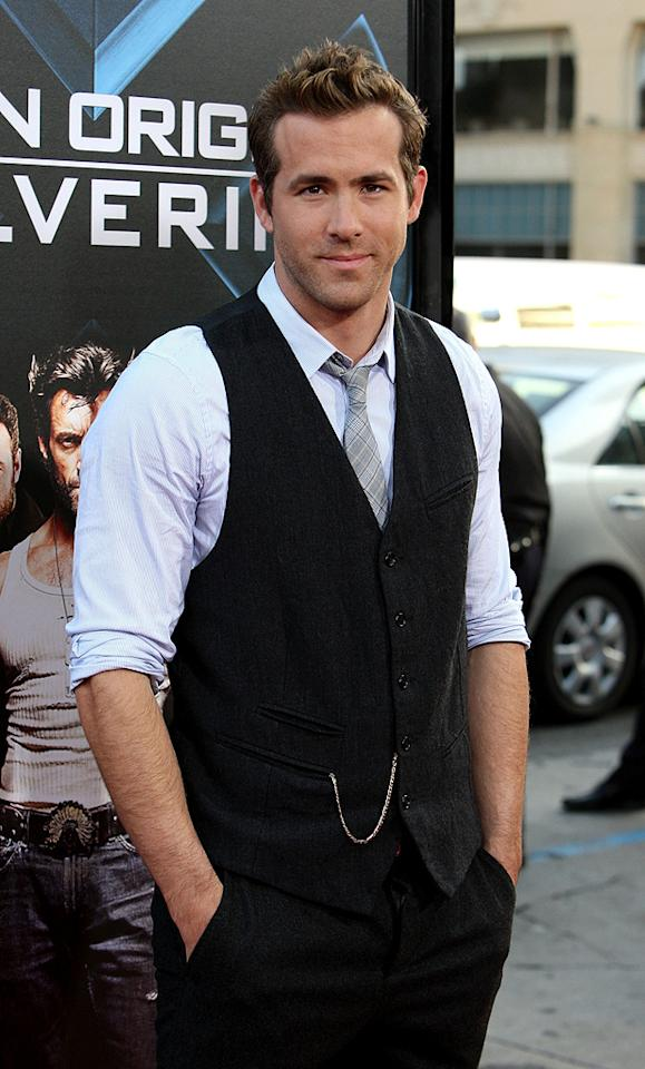 "<a href=""http://movies.yahoo.com/movie/contributor/1800025139"">Ryan Reynolds</a> at the Los Angeles premiere of <a href=""http://movies.yahoo.com/movie/1808665084/info"">X-Men Origins: Wolverine</a> - 04/28/2009"