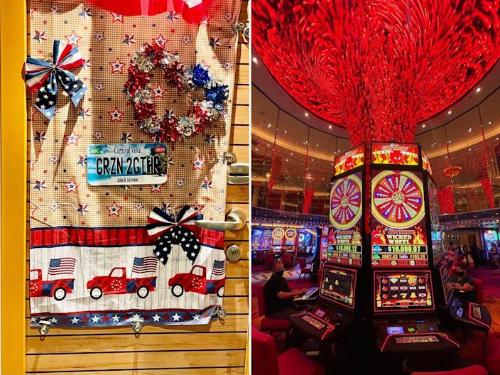 Side-by-side images of a decorated cabin door and the cruise's casino.