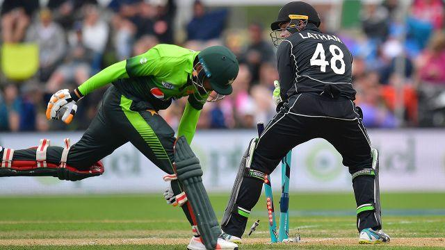 Babar was run-out in comical fashion. Image: Getty