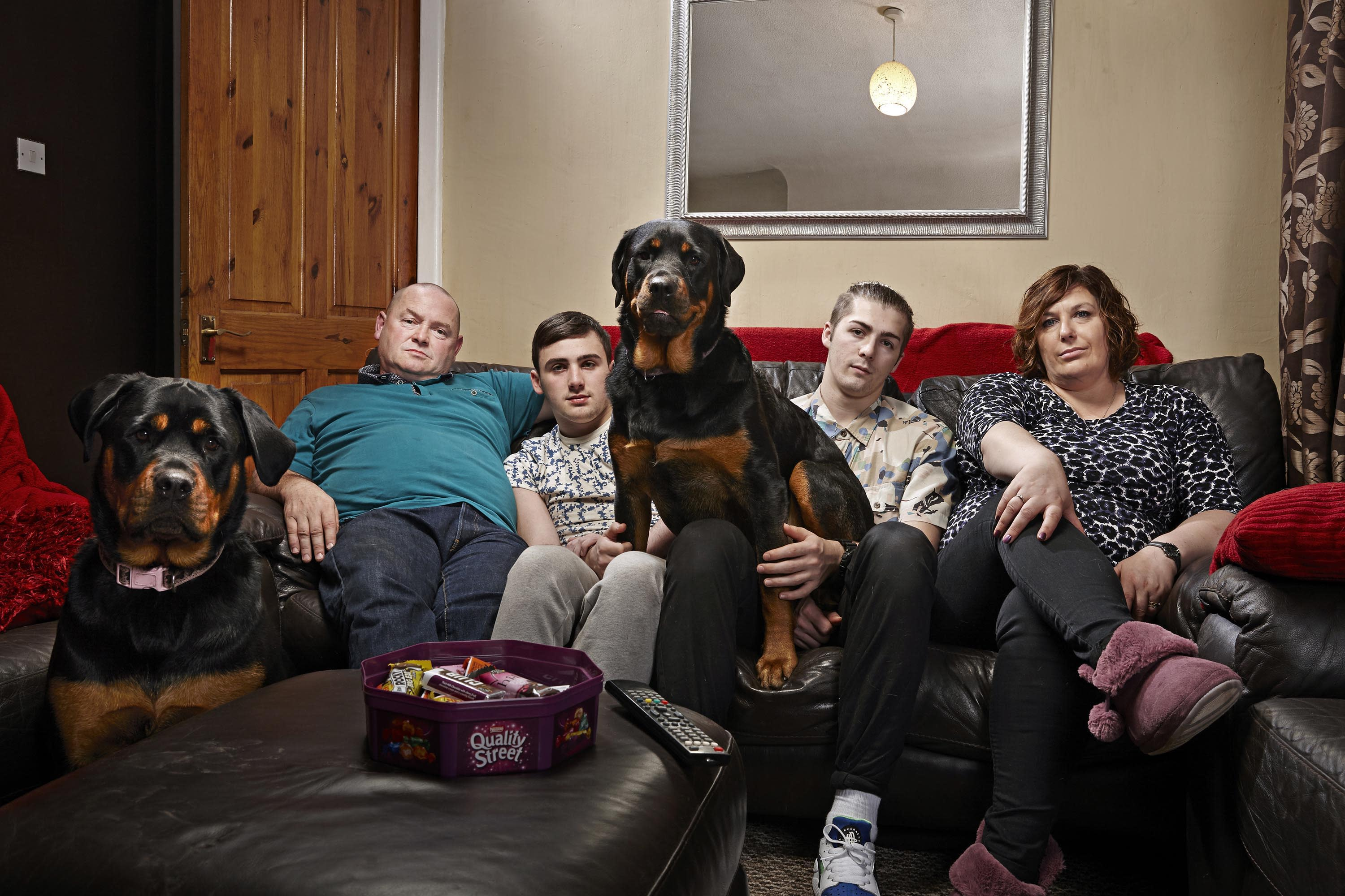 Tom Malone (2nd from right) found fame on Gogglebox with his family. (Channel 4)