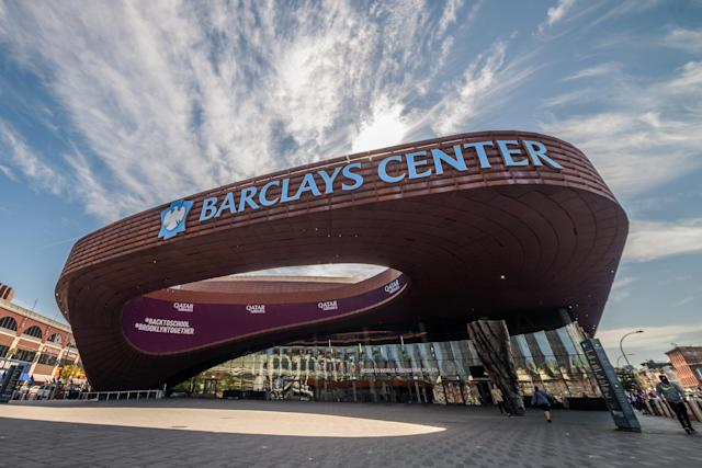 The Brooklyn Nets' court at Barclays Center got an all-gray upgrade. (Photo by Erik McGregor/LightRocket via Getty Images)