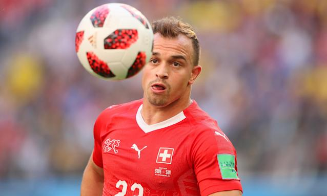 Xherdan Shaqiri of Switzerland in action during the World Cup match against Sweden.