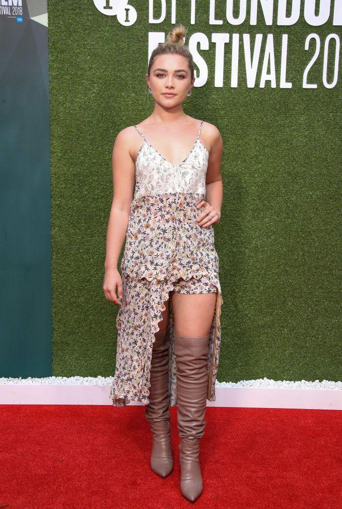<p>The star wore an asymmetric floral playsuit to the World Premiere of The Little Drummer Girl, October 2018.</p>