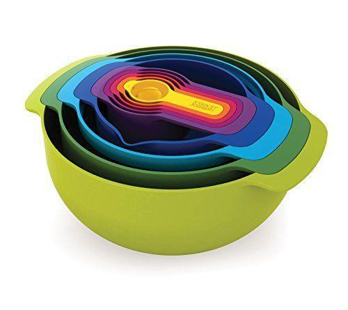 1)  Nest 9 Nesting Bowls Set with Mixing Bowls Measuring Cups