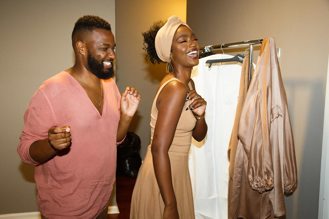 """""""My publicist Savoy helping me get ready. He always has something funny to say."""" Photo courtesy of Tomas Herold for W Magazine."""