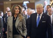 """<p>Accompanied by her husband, the First Lady, <a href=""""https://www.townandcountrymag.com/society/politics/a13101015/melania-ivanka-trump-ralph-lauren-suit/"""" rel=""""nofollow noopener"""" target=""""_blank"""" data-ylk=""""slk:wearing a plaid Ralph Lauren suit,"""" class=""""link rapid-noclick-resp"""">wearing a plaid Ralph Lauren suit,</a> departs the United Nations after the president's speech. He addressed his first General Assembly meeting. </p>"""