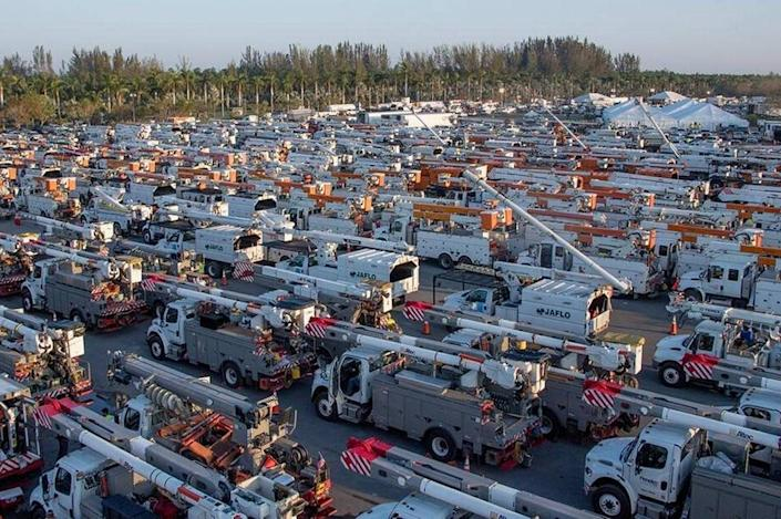 Zoo Miami's parking lot became one of the main staging areas for FPL and dozens of other power companies helping with relief efforts after Hurricane Irma in 2017.