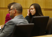 Jodi Arias reacts after she was found of guilty of first degree murder in the gruesome killing her one-time boyfriend, Travis Alexander, in their suburban Phoenix home, Wednesday, May 8, 2013, in Phoenix. (AP Photo/The Arizona Republic, Rob Schumacher, Pool)