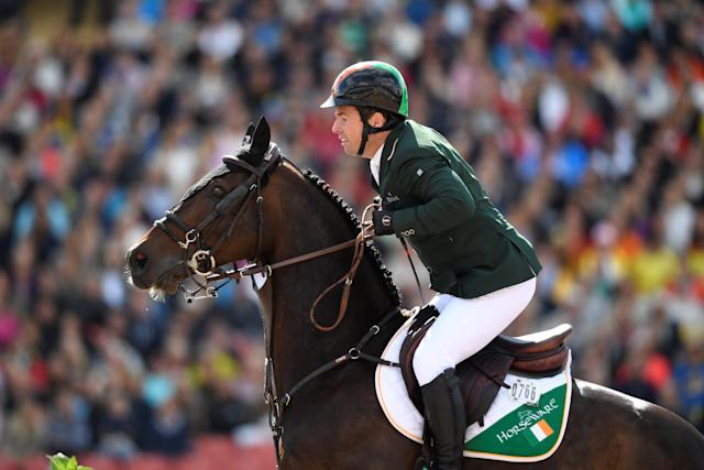 Equestrian - FEI European Championships 2017 - Jumping Individual Final - Ullevi Stadium, Gothenburg, Sweden - August 27, 2017 - Cian O'Connor of Ireland rides on his horse Good Luck. TT News Agency/Pontus Lundahl via REUTERS ATTENTION EDITORS - THIS IMAGE WAS PROVIDED BY A THIRD PARTY. SWEDEN OUT. NO COMMERCIAL OR EDITORIAL SALES IN SWEDEN