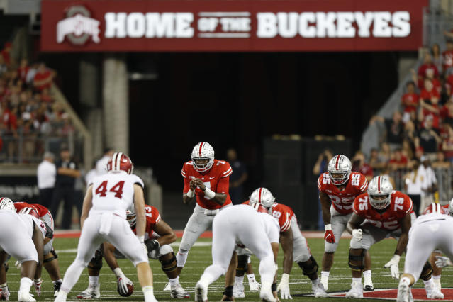 Ohio State quarterback Dwayne Haskins plays against Indiana during an NCAA college football game Saturday, Oct. 6, 2018, in Columbus, Ohio. (AP Photo/Jay LaPrete)