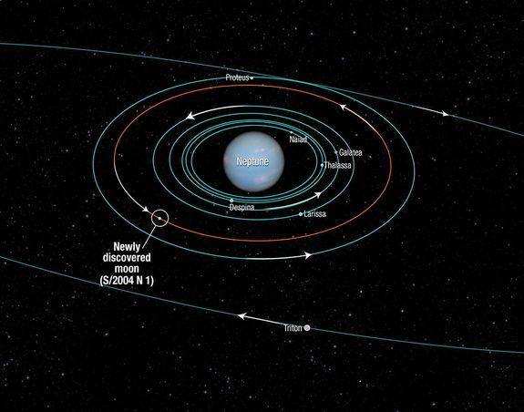 This diagram shows the orbits of several moons located close to the planet Neptune. All of them were discovered in 1989 by NASA's Voyager 2 spacecraft, with the exception of S/2004 N 1, which was discovered in archival Hubble Space Telescope im