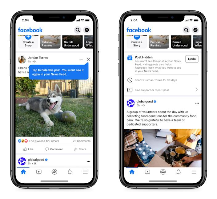 Facebook is making it easier to hide posts from News feed.