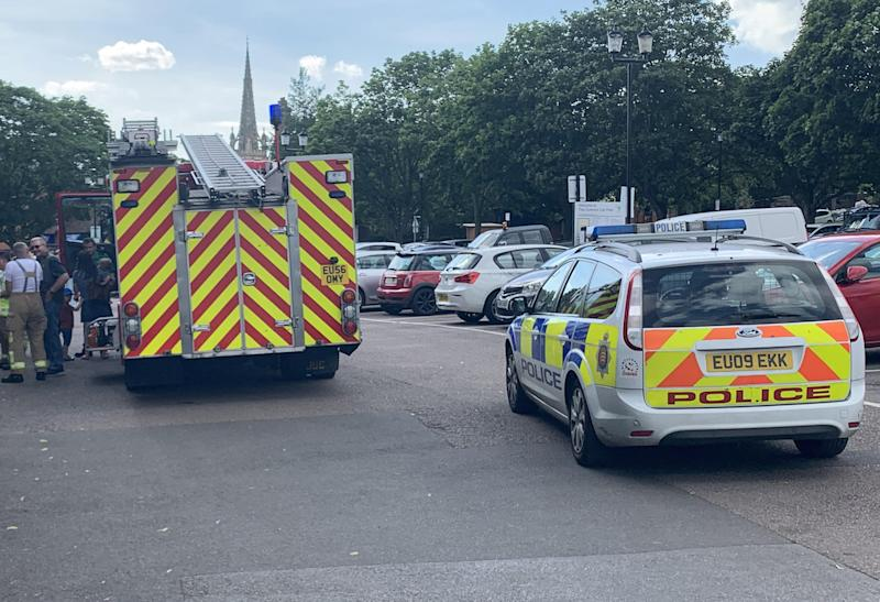 Firefighters and police were called to the scene in Saffron Walden, Essex, on Saturday (Picture: SWNS)