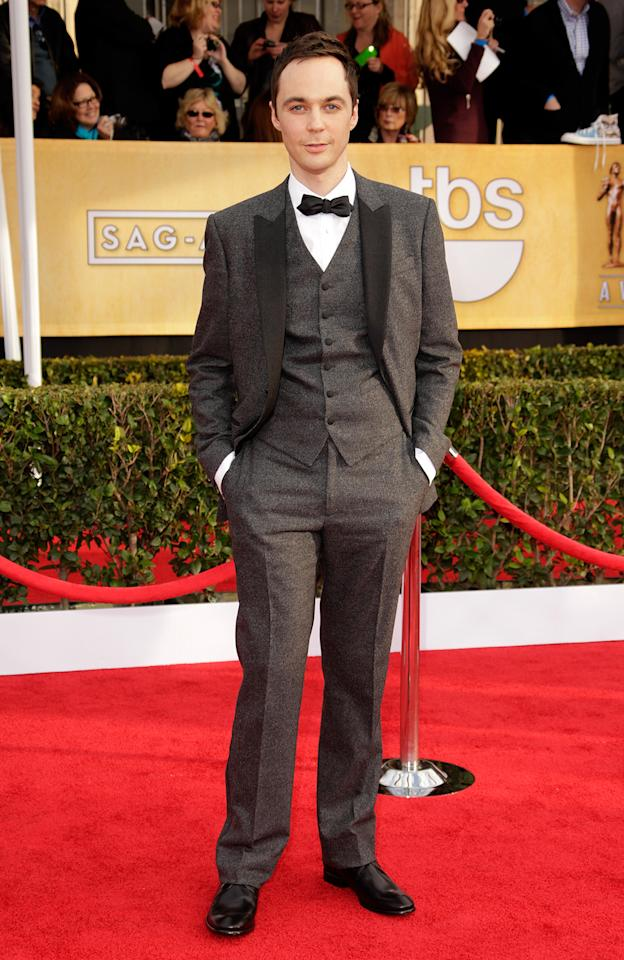 Jim Parsons arrives at the 19th Annual Screen Actors Guild Awards at the Shrine Auditorium in Los Angeles, CA on January 27, 2013.