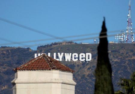 "File Photo: A view shows the ""iconic ""Hollywood"" sign overlooking Southern California's film-and-television hub, which was defaced overnight in the Hollywood Hills in Los Angeles, California"