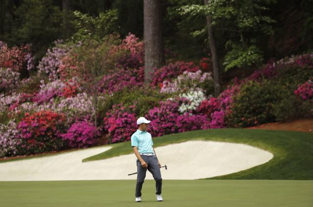 Jordan Spieth of the U.S. reacts as he misses an eagle putt on the 13th hole during third round play of the 2018 Masters golf tournament at the Augusta National Golf Club in Augusta, Georgia, U.S. April 7, 2018. REUTERS/Mike Segar