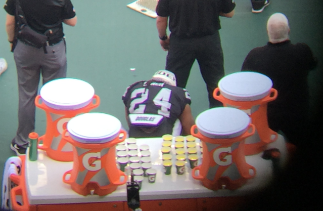 Marshawn Lynch sat during the national anthem. (via @BenVolin)