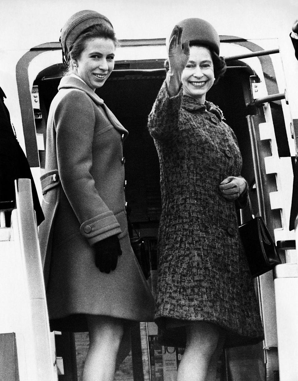 <p>Queen Elizabeth and Princess Anne leave from Heathrow Airport in London for a two-month trip to Australia and New Zealand in 1970.</p>