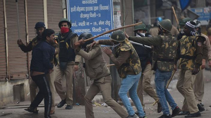 Police disperse a protest in Delhi
