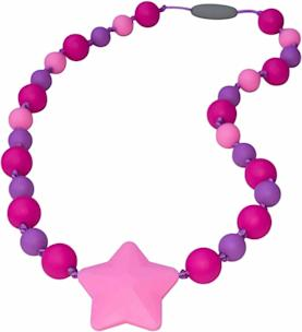 Munchables Starlight Chewable Necklace purple and pink beads with pink star center bead