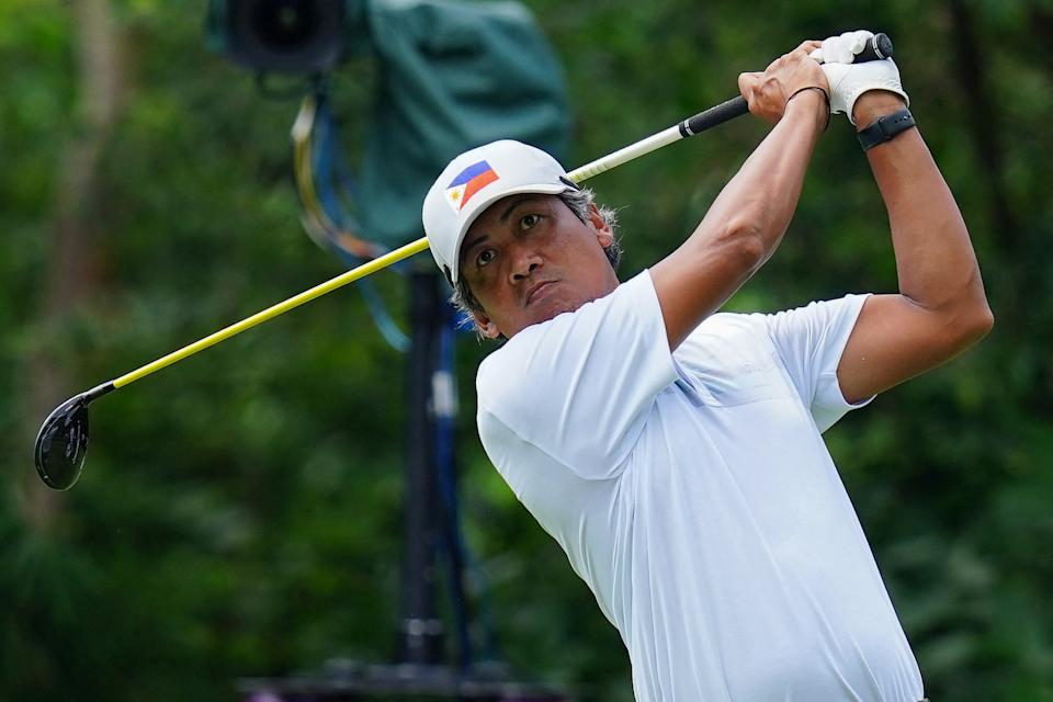 Philippines' Juvic Pagunsan watches his drive from the 2nd tee in round 3 of the men's golf individual stroke play during the Tokyo 2020 Olympic Games at the Kasumigaseki Country Club in Kawagoe on July 31, 2021. (Photo by YOSHI IWAMOTO / AFP) (Photo by YOSHI IWAMOTO/AFP via Getty Images)