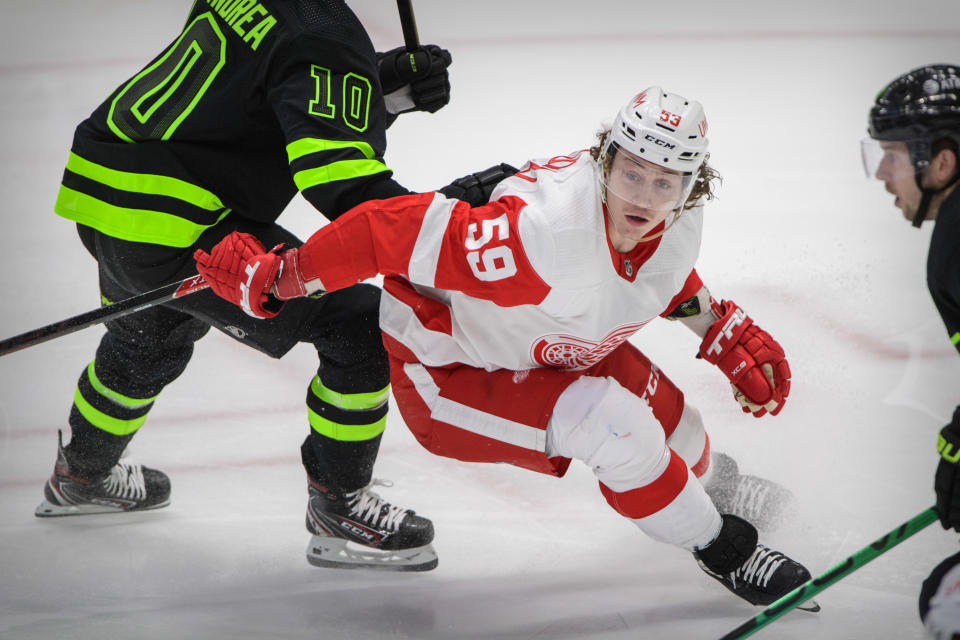 Jan 28, 2021; Dallas, Texas, USA; Detroit Red Wings left wing Tyler Bertuzzi (59) in action during the game between the Dallas Stars and the Detroit Red Wings at the American Airlines Center. Mandatory Credit: Jerome Miron-USA TODAY Sports
