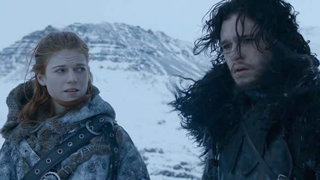 "Rose Leslie and Kit Harington in the ""Game of Thrones"" episode, ""Valar Morghulis."""