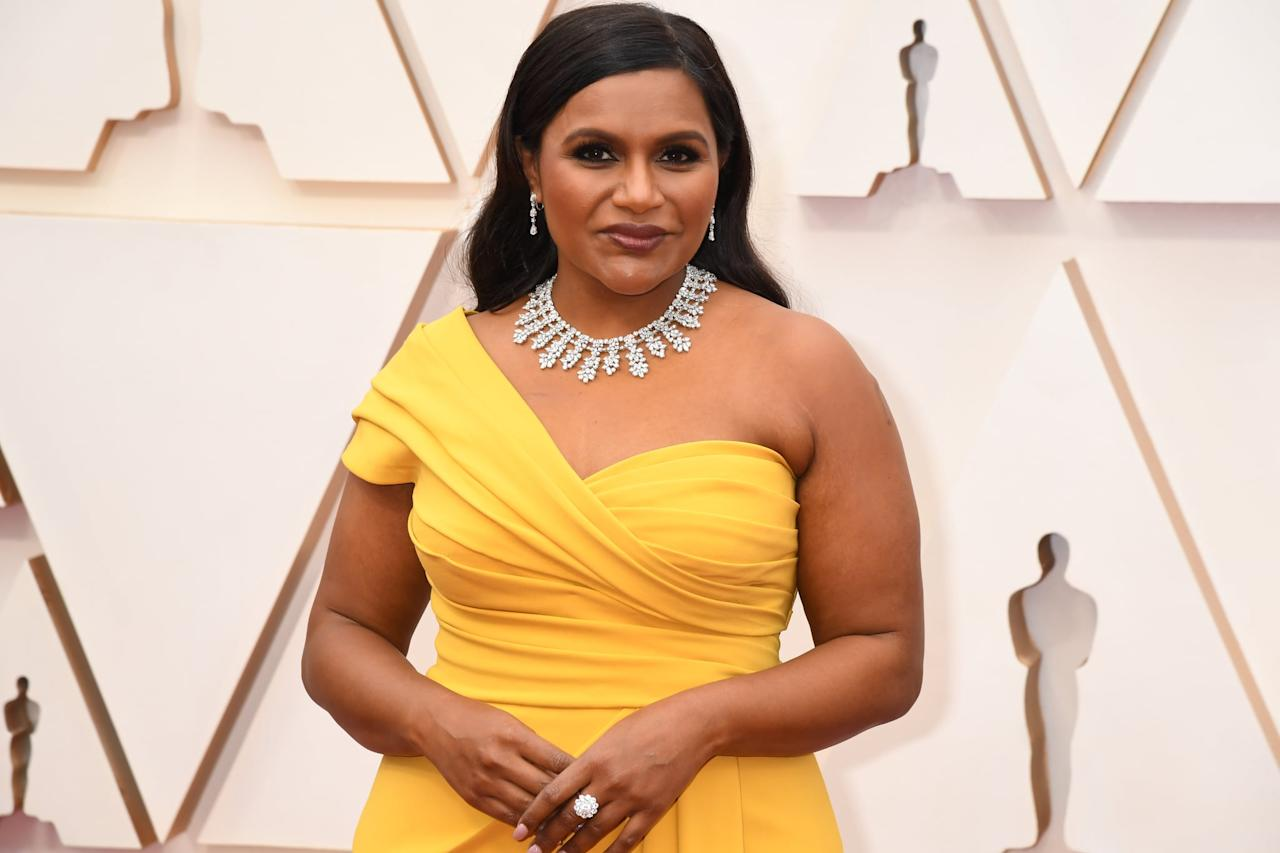 <p>Mindy's Chopard necklace lit up her look. </p>
