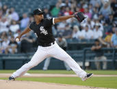 Chicago White Sox starting pitcher Reynaldo Lopez delivers during the first inning of a baseball game against the Miami Marlins Wednesday, July 24, 2019, in Chicago. (AP Photo/Charles Rex Arbogast)