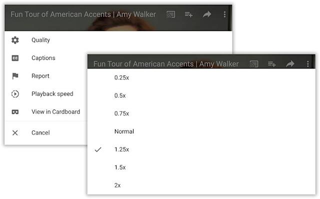 """In the app,the """"Playback speed"""" control (left) opens upthis menu ofplayback speeds (right)."""