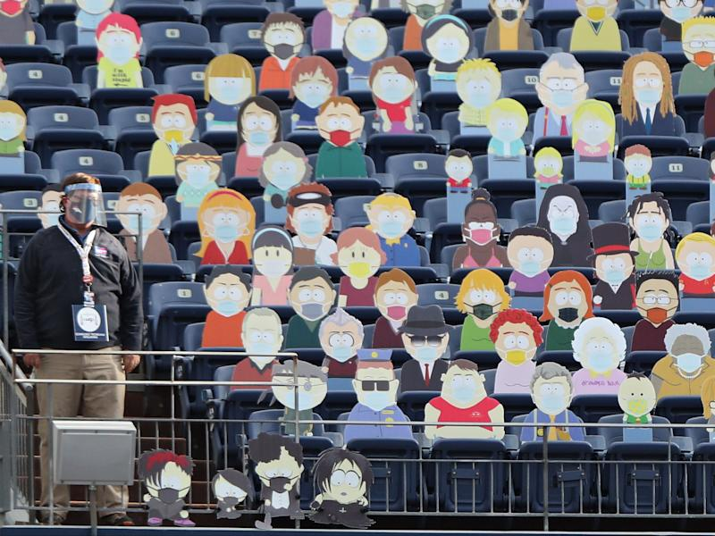 Cardboard cutouts of the television show 'South Park' are seen in the stands as the Tampa Bay Buccaneers play against the Denver Broncos (Getty Images)