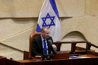 Yariv Levin, the speaker of Israel's parliament (the Knesset), gives a statement on the coalition deal