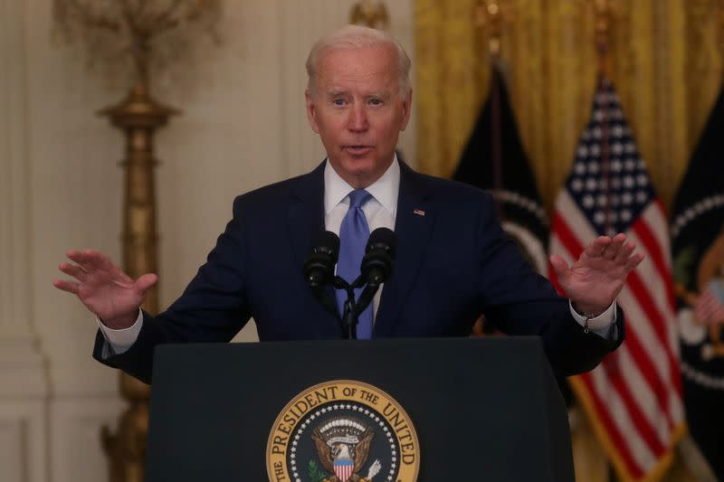 U.S. President Biden delivers remarks on the economy in the White House