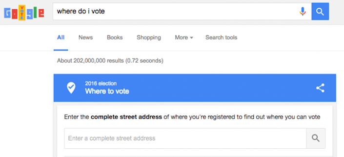 Monday's Google doodle helps voters locate their designated polling station ahead of Tuesday's presidential election. (Screenshot via Google)