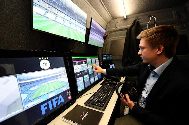 A technician checks the video arbitration system that will be used during the friendly football match France vs Spain on March 28, 2017 at the Stade de France stadium in Saint-Denis, north of Paris (AFP Photo/FRANCK FIFE)