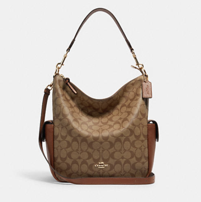 brown leather coach Pennie Shoulder Bag in Signature Canvas