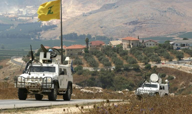 The United Nations peacekeeping force (UNIFIL) on patrol along the southern Lebanese border with Israel near the northern Israeli town of Metula on July 28
